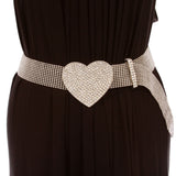 "1 1/2"" Rhinestone Encrusted Heart Mesh Metal Ball Chain Belt"