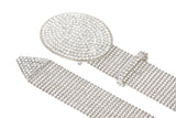 "1 1/2"" (38 mm) Clear Rhinestone Oval Metal Ball Chain Belt"