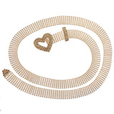 "3/4"" Rhinestone Open Heart Metal Ball Chain Belt"