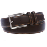 Men's Feather Edged Leather Casual Belt with Stitch Edge