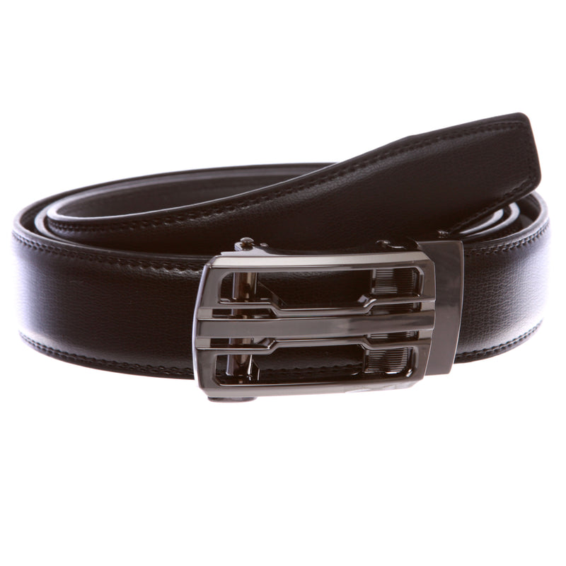 Men/'s Dress Belt Microfiber Leather Exact Fit Automatic Buckle Ratchet Belt