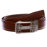 Men's s Automatic Buckle Cut-to-Fit Slide Ratchet Feather Edged Dress Belt