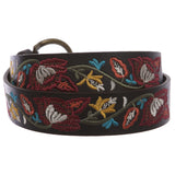 "Women's 1 1/2"" Applique Embroidery Vintage Flores Horse Shoe Buckle Belt"