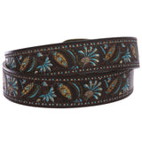 "1 1/2"" Applique Embroidery Vintage Stitching Oval Buckle Belt"