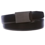 Men's Feather Edged Slide Leather Dress Belt with Automatic Buckle