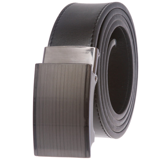 Men's Plain Leather Slide Dress Belt with Automatic Buckle