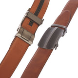 Men's 35mm Gunmetal Automatic Buckle Slide Ratchet Clamp Leather Dress Belt