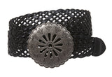 "1 3/4"" (45 mm) Genuine Leather Braided Woven Belt"