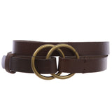 "Women's 3/4"" (20mm) Round Double Circle Knot Ring Fold Buckle Skinny Genuine Leather Belt"