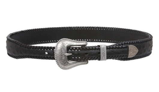 Western Faux Ostrich Print Lased Tapered Leather Belt