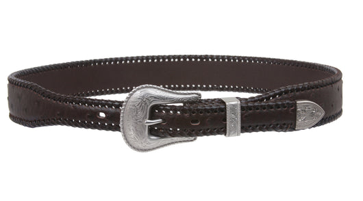 Western Ostrich Print Lased Tapered Leather Belt