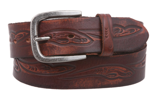 Snap On Floral Embossed Cowhide Full Grain Leather Casual Belt