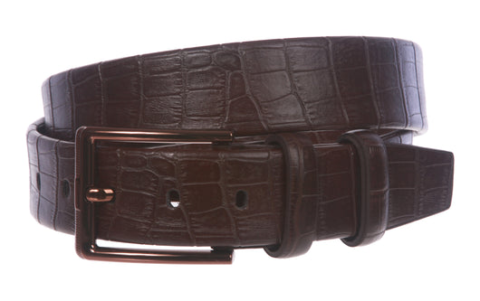 Men's Croco Print Double Loop Leather Belt