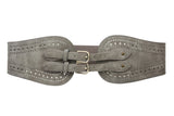 "Ladies 5"" Wide High Waist Fashion Double Buckles Stretch Belt"