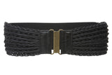 "3"" Wide High Waist Fashion Braided Stretch Belt"