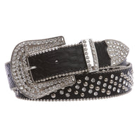 Cowgirl Western Rhinestone Nail Head Riveted Studs Faux Alligator Leather Belt
