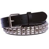 "1 1/4"" (33 mm) Snap On Two Row Punk Rock Star Silver Studded Leather Belt"