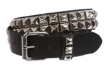"1 1/2"" Snap On Two Row Punk Rock Star Silver Studded Solid Leather Belt"