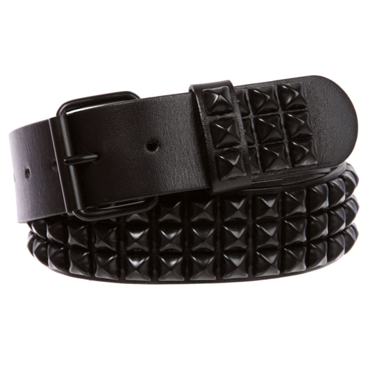 Three Row of Punk Rock Star Metal Black Studded Leather Belt
