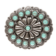 Western Turquoise Oval Round Belt Buckle