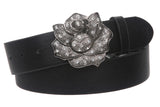 "Womens 1 1/2"" Rhinestone Rose Flower Belt"