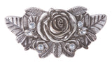 Rhinestone Rose Flower Engraving Belt Buckle