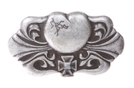 Western Heart & Iron Cross Fleur De Lis Flower Engraving Belt Buckle