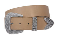 Western Rhinestone Buckle Plain Leather Belt