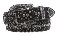 Snap On Rhinestone and Gun Metal Color Circle Studded Leather Belt