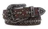 Western Cowgirl or Cowboy Rhinestone Bling Circle Studded Leather Belt