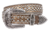 Women's Cowgirl Western Rhinestone Leather Belt