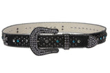 "1 1/2"" Snap On Western Rhinestone Cross Studded Leather Belt"