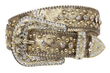 "1 1/2"" Snap On Western Rhinestone Cross Studded Alligator Leather Belt"