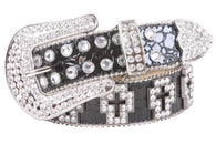 Western Rhinestone Cross Ornaments Croco Print Leather Belt