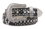 Ladies Rhinestone Cross Ornaments Croco Print Genuine Leather Belt