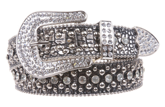 Ladies Rhinestone Studs Croco Print Leather Belt