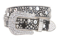 Snap On 40mm Western Rhinestone Rivet Studs Leather Belt
