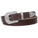 "1"" Western Rhinestone Buckle Plain Leather Belt"