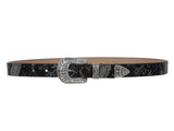 "1"" Western Rhinestone Buckle Snake Print Leather Belt"