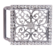 Perforated Square Rhinestone Flower Belt Buckle