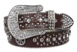 "1 1/2"" Snap On Western Rhinestone Peace Sign Rivet Studded Belt"