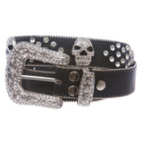 "1 1/2"" Snap On Western Rhinestone Skull Studded Alligator Leather Belt"