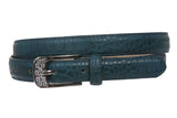 "Women's 3/4"" Skinny Rhinestone Faux Alligator Crocodile Print Non Leather Belt"