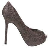 Breckelles Women's High Heel Glitter Platform Open Toe Pumps