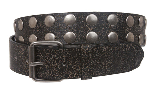 Round Circle Studded Snap On Removable Buckle Leather Belt