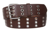 Three Row Grommets Fashion Jean Belt