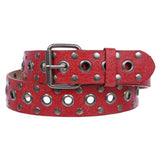 Snap On Big Grommets & Circle Studded Hardware Crack Print Leather Belt