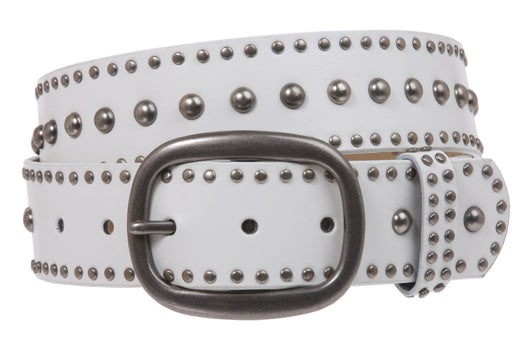 Ladies Oval Buckle Metal Circle Studded Leather Belt