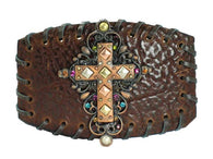 Whipstitched Leather Rhinestone Cross Religious Embellishments Belt Buckle