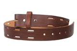"Snap On 1 1/2"" Soft Hand Genuine Leather Casual Belt Strap"